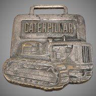 Vintage CATERPILLAR Advertising Pocket Watch Fob Shelley Tractor Florida Brass