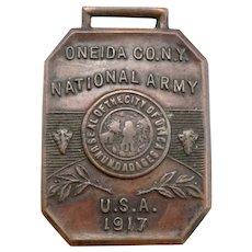 Vintage Oneida Co. NY NATIONAL ARMY USA 1917 Pocket Watch Fob Seal of Utica NY