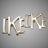 Vintage Pair IKE Campaign Lapel Pins Dwight D. Eisenhower President Goldtone
