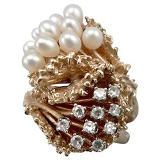 14K Yellow GOLD 1/3tcw DIAMOND Teardrop PEARL Bypass RING 17.7 Grams Size 6.5