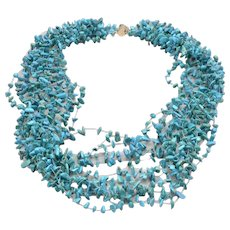 Vintage Natural Turquoise Nugget Chip Multi Strand Necklace 14K GOLD Catch 71g