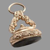 Antique Victorian Onyx Intaglio Warrior WAX SEAL Watch Fob Charm Pendant GF/RGP