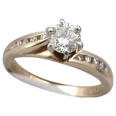 Vintage 14K Yellow GOLD .50tcw DIAMOND Engagement RING Solitaire Accents 3.3g