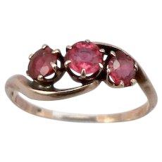 Antique Edwardian 10K Rose GOLD Garnet Topped Double 3-Stone Ring 1.5g Size 7
