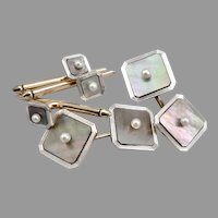 Vintage 14K GOLD Platinum Mother of Pearl Cufflinks Tuxedo Stud Buttons 12.8g