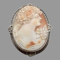 Antique 14K White Gold Hand Carved Shell CAMEO Brooch Pin Pendant 10.1g Vintage