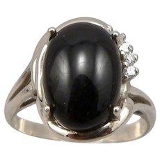 Vintage 14K White GOLD Black Onyx .10tcw DIAMOND Ring 5.3 Grams Size 9.5 Retro