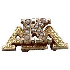 Vintage 14K Gold ALPHA KAPPA LAMBDA Fraternal Pin Badge Seed Pearl Fraternity