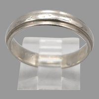 Vintage 14K White GOLD 4.3mm Wide Band RING 3.5 Grams Size 9 Mid Century Modern