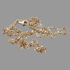 """Vintage ITALY 10K Yellow GOLD 1.9mm Wide Link Twist Chain Necklace 2.3g 15 7/8"""""""