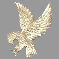 Vintage 14K Yellow GOLD Bright Cut EAGLE Bird Pendant Charm 1.8 Grams Estate