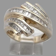 Vintage 10K Yellow GOLD 0.51tcw Diamond Cluster Cocktail Bypass Ring 5.1g Size 7