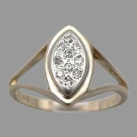 Vintage 14K Yellow GOLD 10-Stone .10tcw DIAMOND Navette Ring 3.8 Grams Size 6.75