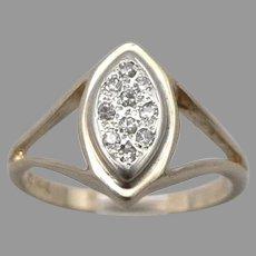 Vintage 14K Yellow GOLD 10-Stone .10tcw DIAMOND Navette Ring 3.8 Grams Size 6.75