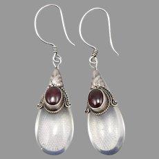 Vintage STERLING Silver Pyrope Garnet Opalite Moonstone Glass Dangle EARRINGS