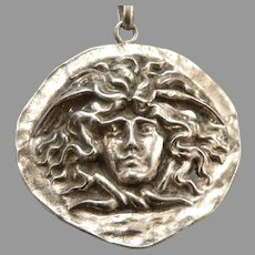 """Vintage KREMENTZ Gold on STERLING Silver Medusa Head Large 1 5/8"""" Pendant 18.7g"""
