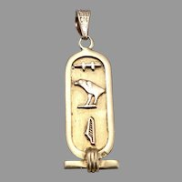Vintage 18K Yellow GOLD Egyptian Hieroglyphs Pendant 2 Grams Egypt Hieroglyphics