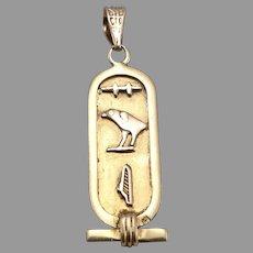 Vintage 18K Yellow GOLD Egyptian Hieroglyphs Pendant 2 Grams Egypt Hieroglyphics