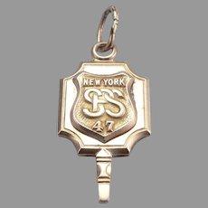 c1947 Vintage 10K Gold New York State Police School Fob Trooper Academy 4.7g