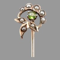 Antique Victorian 10K GOLD Stickpin Green Glass Faux Seed Pearl Stick Pin 0.8g