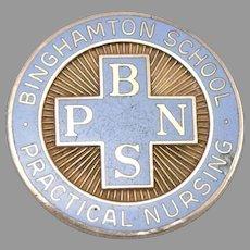 Vintage 10K GOLD Enamel NURSE Pin Binghamton School of Practical Nursing 5.4g