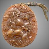 Vintage Carved Jadeite Jade 3 Goats Flowers Design Ram Sheep Pendant Amulet