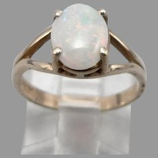 Vintage 10K Yellow GOLD .79tcw OPAL Cabochon Solitaire RING 2.2 Grams Size 6