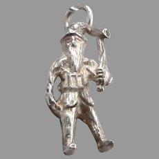 Vintage STERLING Silver IRELAND  Lucky Leprechaun Gnome Charm Pendant 3.3 Grams