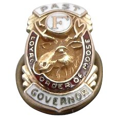 Vintage LOOM Loyal Order of Moose Fraternal Governor Lapel Pin Enamel 10K Gold