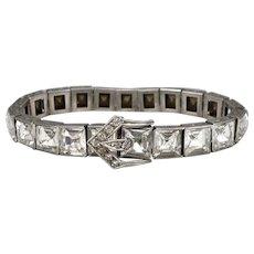 Vintage Art Deco Wide STERLING Silver DIAMONBAR BRACELET Buckle Catch Rhinestone