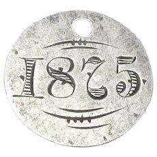 Antique 1875 Love Token Silver Coin Engraved Charm Pendant Tag 1.8 Grams