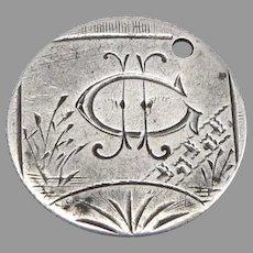 Antique ICE Love Token Canada Silver Victoria Dime Coin Engraved 1.8g Canadian