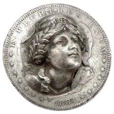 1884 Antique MORGAN SILVER US DOLLAR Bursting Liberty Pop Out 3-D Coin Popout