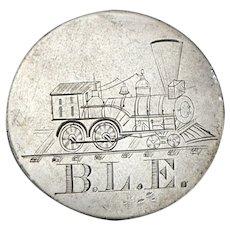 Antique Locomotive TRAIN BLE Love Token Seated Liberty Silver Half Dollar Coin