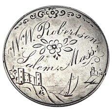 Antique SALEM Mass Love Token 1853 Arrows Seated Liberty Silver Quarter Coin