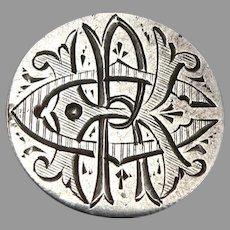 Antique RCK Monogram Love Token 1884 Seated Liberty Silver Dime Coin Engraved 2g