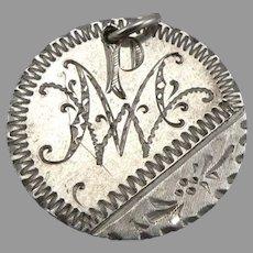 Antique PMW Mono Love Token 1885 Seated Liberty Silver Dime Coin Engraved 2.2g