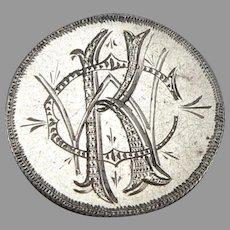 Antique CKW Monogram Love Token 1873 Seated Liberty Silver Dime Coin Engraved 2g