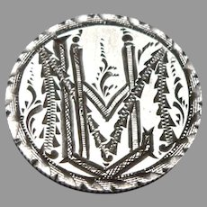 Antique LHM Monogram Love Token 1889 Seated Liberty Silver Dime Coin Engraved 2g
