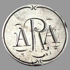 Antique ARA Monogram Love Token 1887 Seated Liberty Silver Dime Coin Engraved 2g