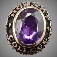 Vintage 10K Gold HOBART COLLEGE Purple Lab Sapphire Tie Tack Lapel Pin 2.9 Grams