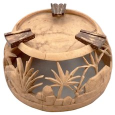 Vintage Hand Carved COCONUT SHELL ASHTRAY Scenic Design Phillipines Openwork