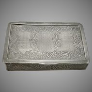 Antique Victorian Pewter Pocket Snuff Box Pill Trinket Container Scroll Design