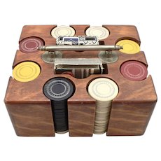Antique Clay Poker Chips Set Oak Carrier Box 2 Decks Playing Card Holder Vintage