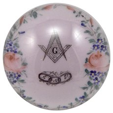 Antique Glass PAPERWEIGHT Masonic Odd Fellows Hand Painted Floral Design Large