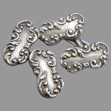 Antique Victorian Edwardian STERLING Silver CUFFLINKS Cuff Buttons 3.6 Grams