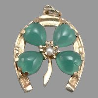 Vintage 14K Yellow GOLD HORSESHOE Chrysoprase Pearl Pendant Charm Good Luck 3.2g