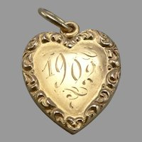 c1902 Antique Sloan & Co 14K Yellow GOLD Heart Locket Pendant Charm 2.9g Vintage