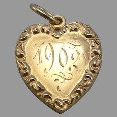 c1902 Antique Sloan & Co 14K Yellow GOLD Heart Locket Pendant Charm 2.9g Vintage