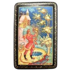 Russian Lacquer Trinket Box The Magic Pike Mstera Russia Fairy Tales Paper Mache